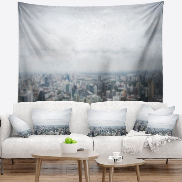 Designart 'Panoramic Aerial View of Big City' Landscape Wall Tapestry