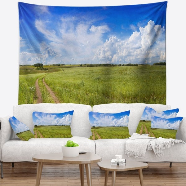 Designart 'Road in Field with Green Grass' Landscape Wall Tapestry
