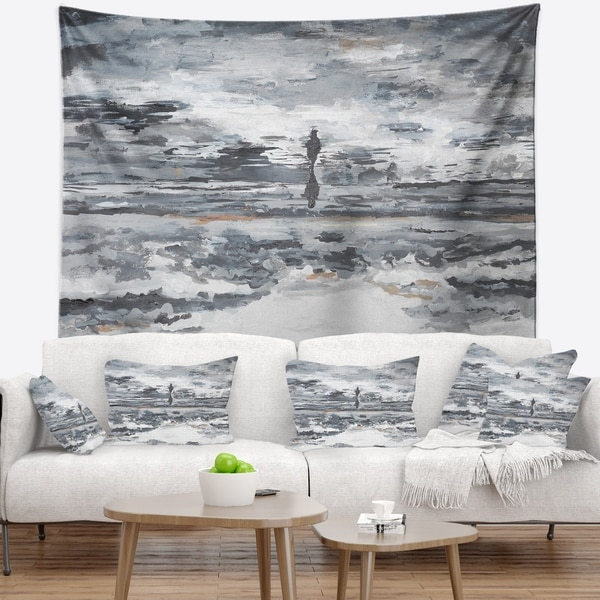 Designart 'Running Horse Through Water' Abstract Wall Tapestry
