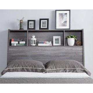 Sage Distressed Grey Bookcase Headboard