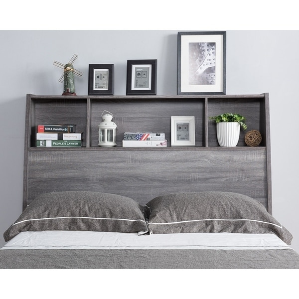 Shop Sage Distressed Grey Bookcase Headboard On Sale Free