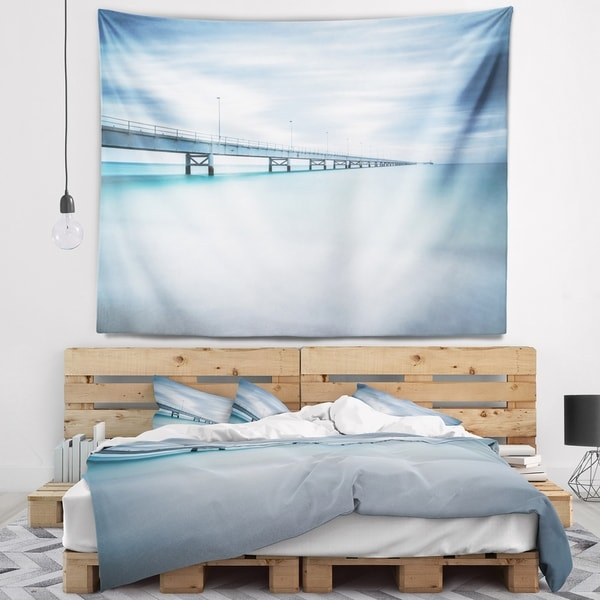 Designart 'Industrial Pier Side view' Seascape Wall Tapestry