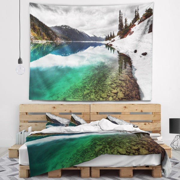Designart 'Clear Lake Pine Trees and Mountains' Landscape Wall Tapestry