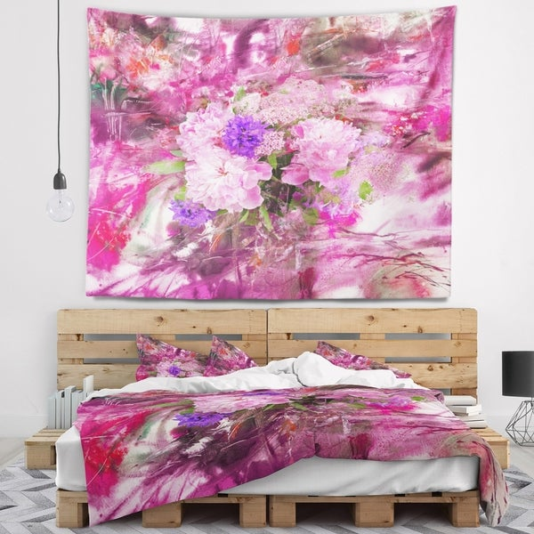 Designart 'Abstract Background with Pink Peony' Floral Wall Tapestry