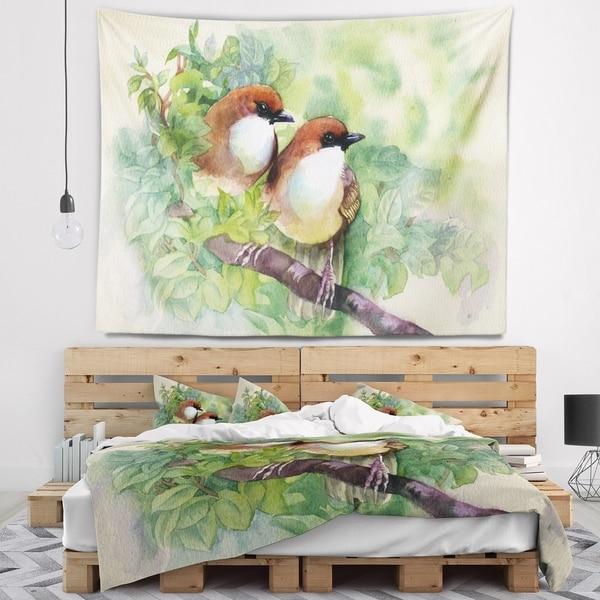 Designart 'Birds of Spring' Modern Animal Painting Wall Tapestry