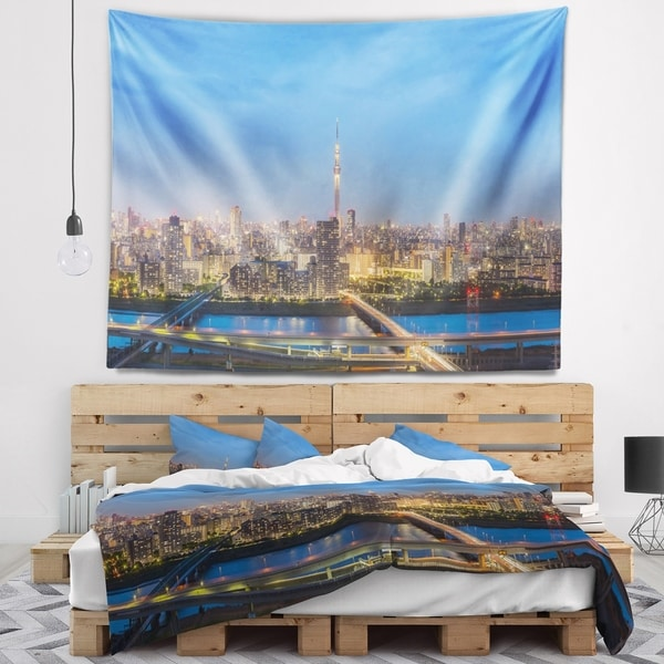 Designart 'Tokyo City View Panorama' Landscape Wall Tapestry