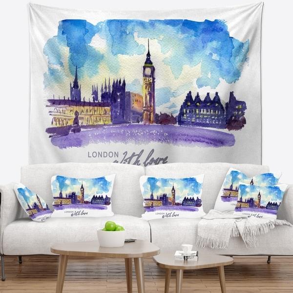 Designart 'London Purple Illustration' Cityscape Painting Wall Tapestry