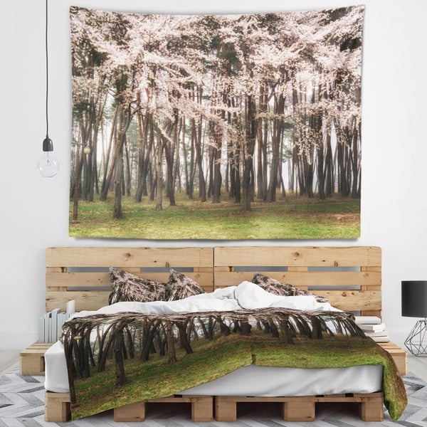 Designart 'Cherry Blossoms in Pine Tree' Landscape Wall Tapestry