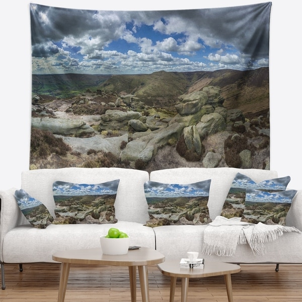 Designart 'Clouds and Stones under Wild Clouds' Landscape Wall Tapestry