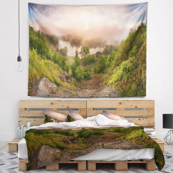 Designart 'Rising Above the River Mist' Landscape Photo Wall Tapestry