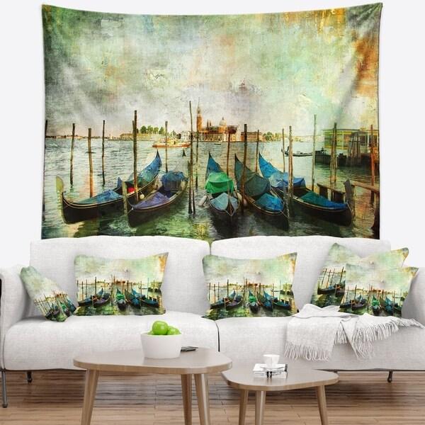 Designart 'Venetian Gondolas' Landscape Painting Wall Tapestry