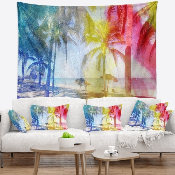 Designart 'Blue Retro Palm Trees' Landscape Painting Wall Tapestry