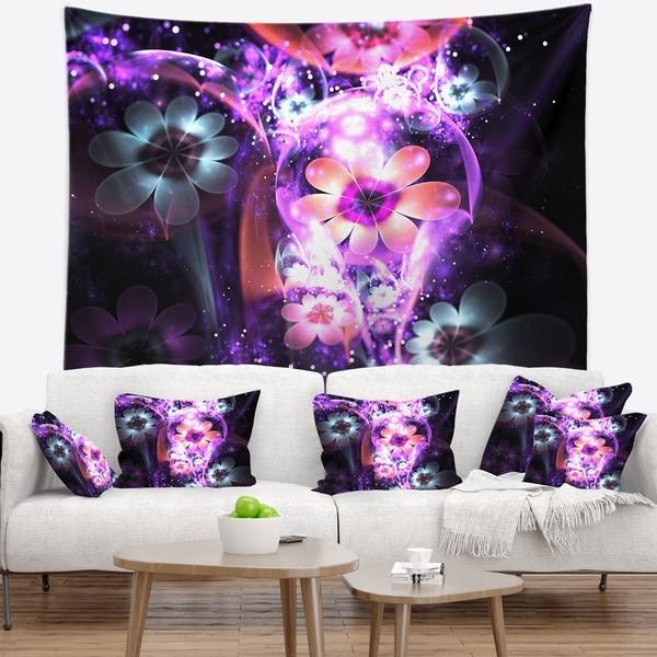 Designart 'Fractal Flower Dark Purple Digital Art' Flower Wall Tapestry