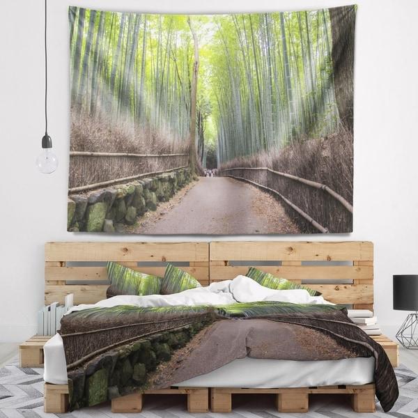 Designart 'Arashiyama Bamboo Path Japan' Forest Wall Tapestry
