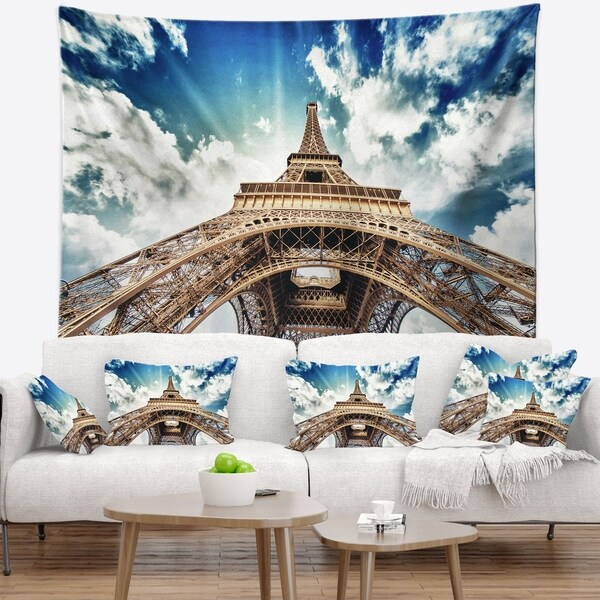 Designart 'Paris Eiffel Towerwith Fast Moving Clouds' Photography Wall Tapestry