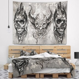 Designart '3 Demons Tattoo Sketch' Abstract Portrait Wall Tapestry