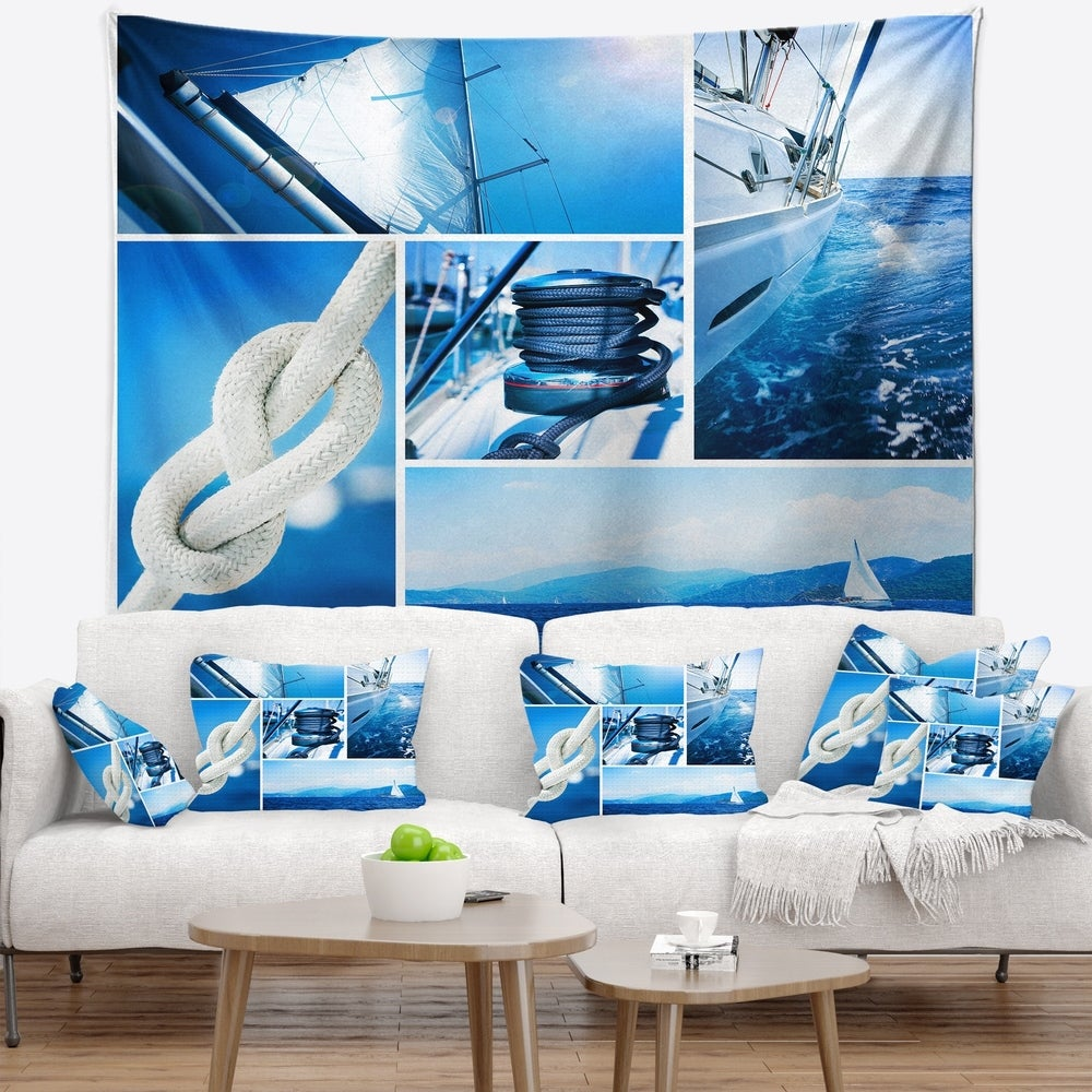 Designart Sailing Yacht In Blue Sea Collage Seashore Wall Tapestry 39 In X 32 In Shefinds
