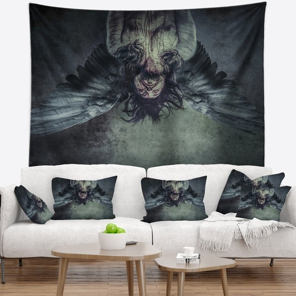 Designart 'Fallen Angel of Death' Abstract Portrait Wall Tapestry