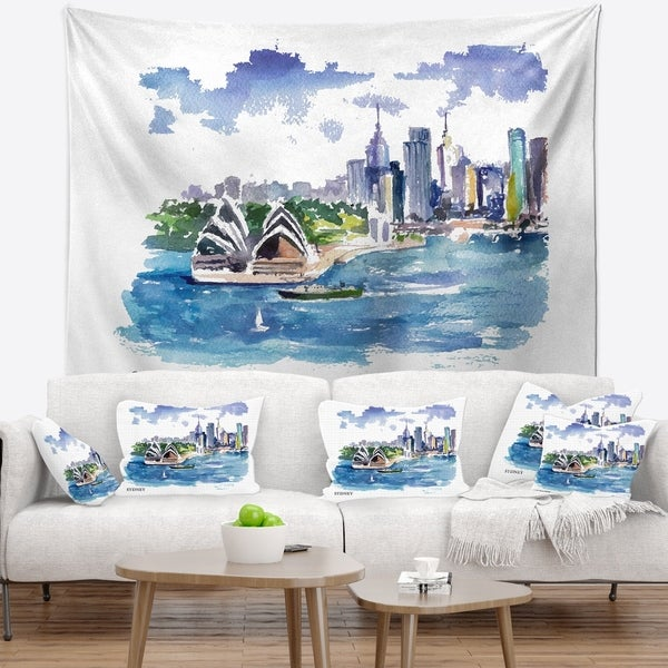 Designart 'Australia Vector Illustration' Cityscape Painting Wall Tapestry