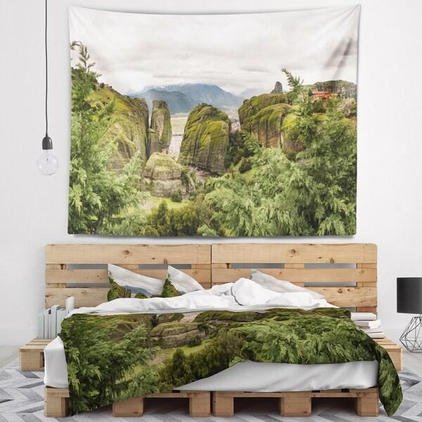 Designart 'Meteora Mountain in Greece' Landscape Wall Tapestry