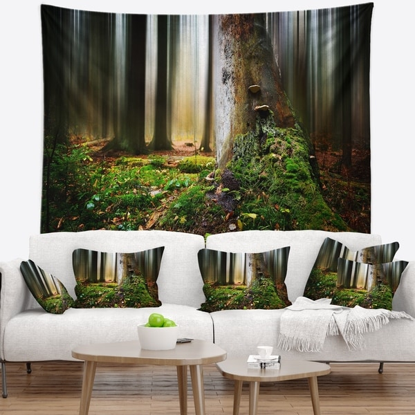 Designart 'Green Forest on Snowy Morning' Landscape Wall Tapestry