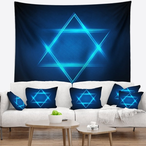 Designart 'Neon Star of David' Abstract Wall Tapestry