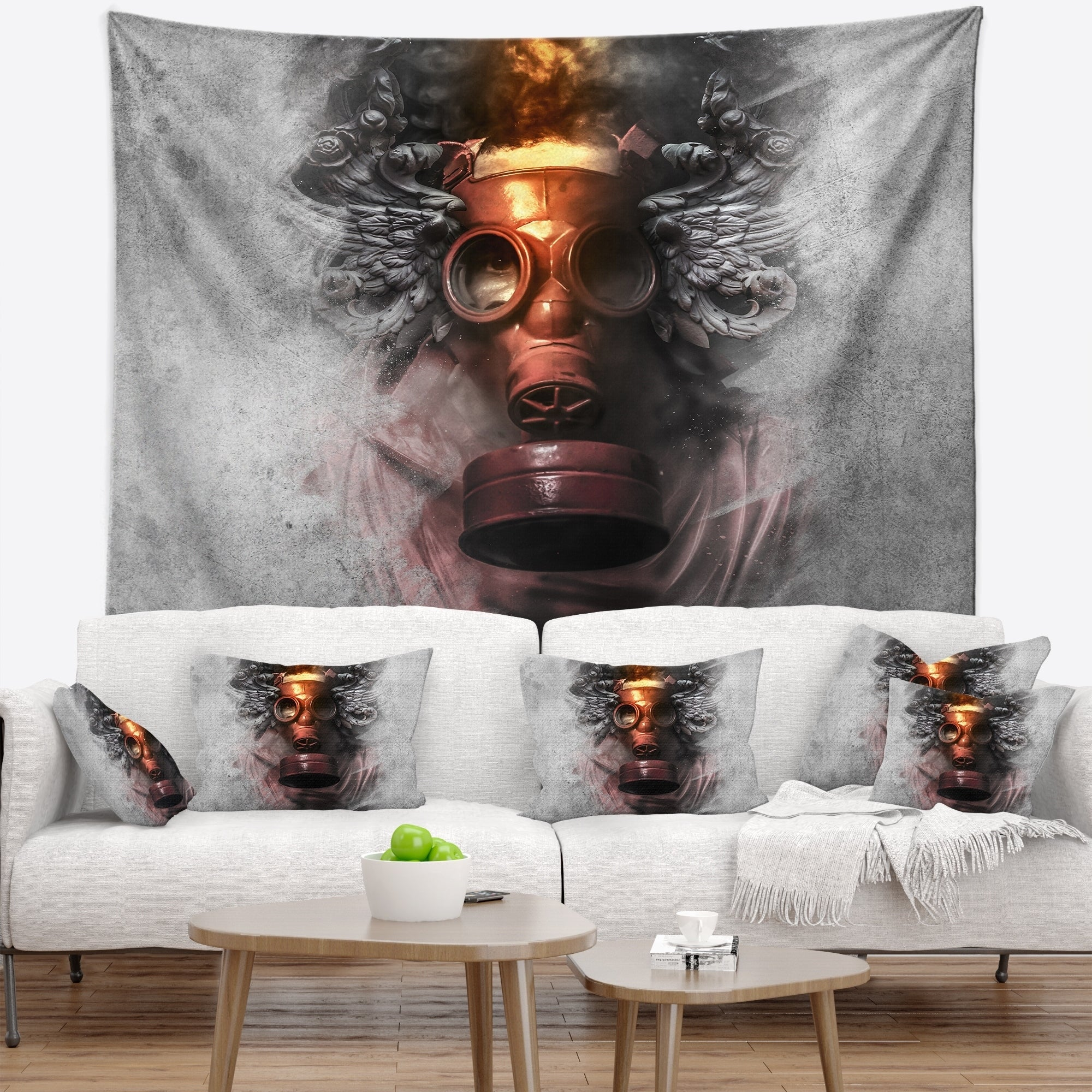 Designart Toxic Man In Mask Abstract Portrait Wall Tapestry Overstock 20925734