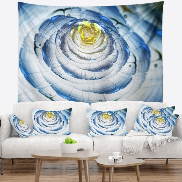 Designart 'Perfect Fractal Flower in Light Blue' Floral Wall Tapestry