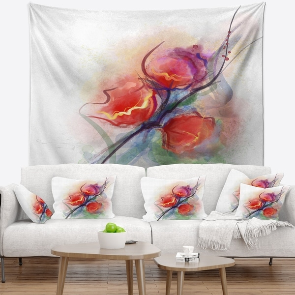 Designart 'Soft Floral Watercolor on Splashes' Floral Wall Tapestry