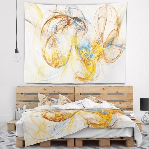 Designart 'Billowing Smoke Yellow' Abstract Wall Tapestry
