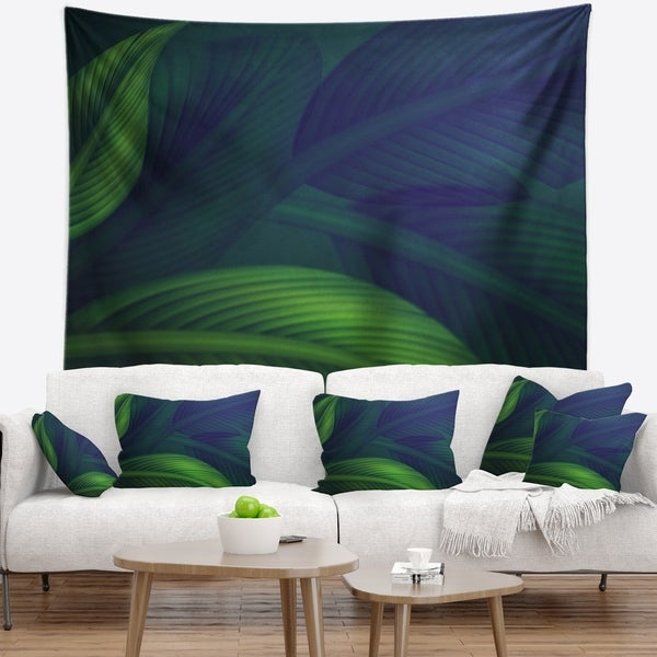 Designart 'Tropic Jungle Leaves Background' Floral Wall Tapestry