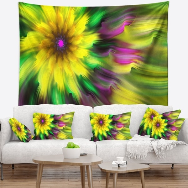 Designart 'Dance of Yellow Exotic Flower' Floral Wall Tapestry