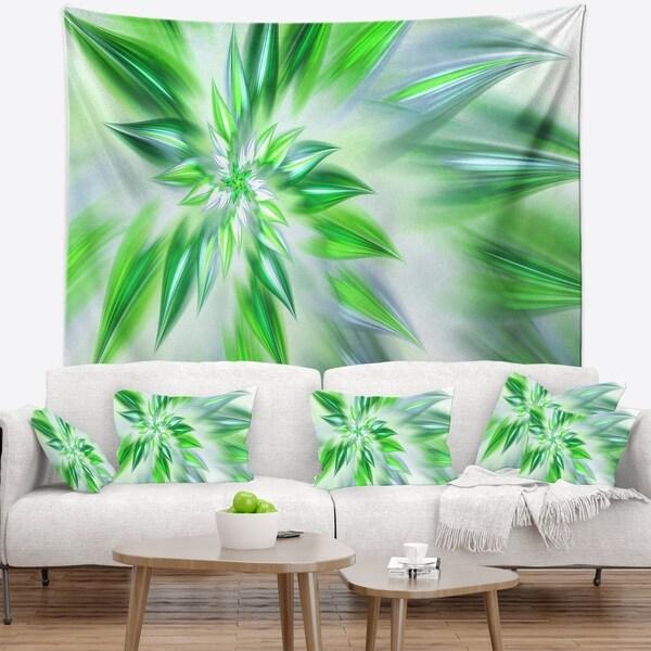 Designart 'Exotic Dance of Green Petals' Floral Wall Tapestry