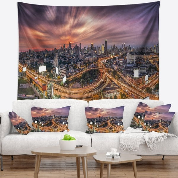 Designart 'Bangkok S Shaped Express Way' Cityscape Wall Tapestry