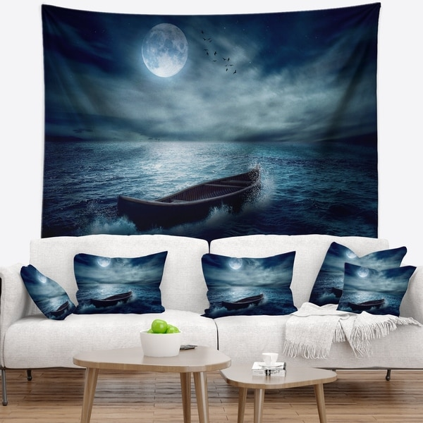 Designart 'Boat Driftinga Away from the Past' Landscape Wall Tapestry