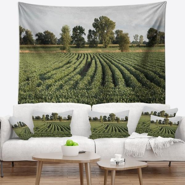 Designart 'Wisconsin Soybean Field Rows' Landscape Wall Tapestry