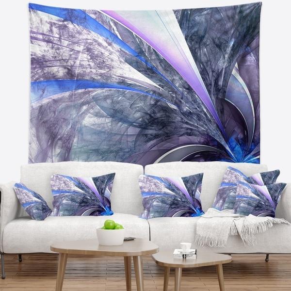 Designart 'Bright Blue Fractal Flower Design' Floral Wall Tapestry