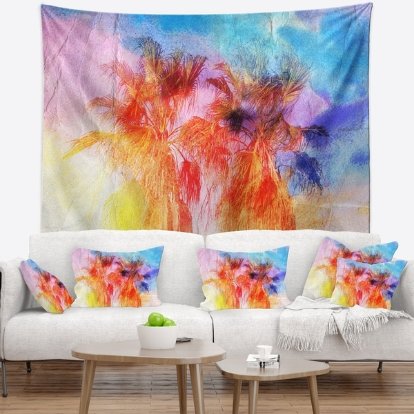 Designart 'Colorful Retro Palm Trees' Landscape Painting Wall Tapestry