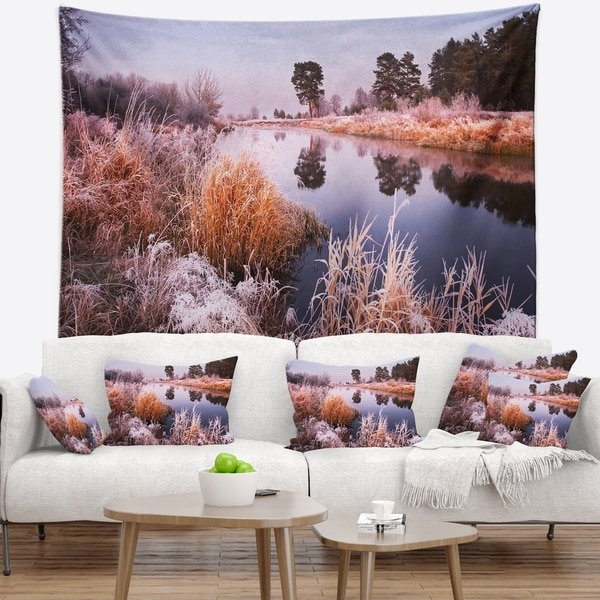 Designart 'Fairy Autumn Dawn Panorama' Landscape Wall Tapestry