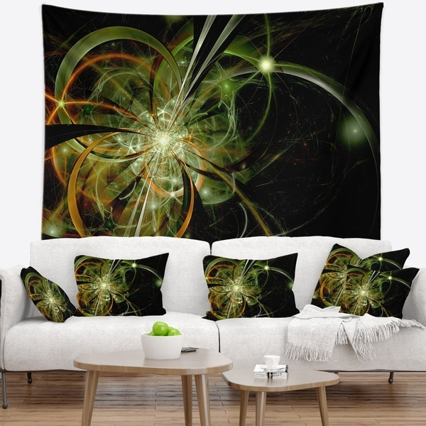 Designart 'Soft Yellow Fractal Flower Design' Floral Wall Tapestry