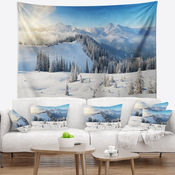 Designart 'Sunny Morning in Mountains' Landscape Wall Tapestry