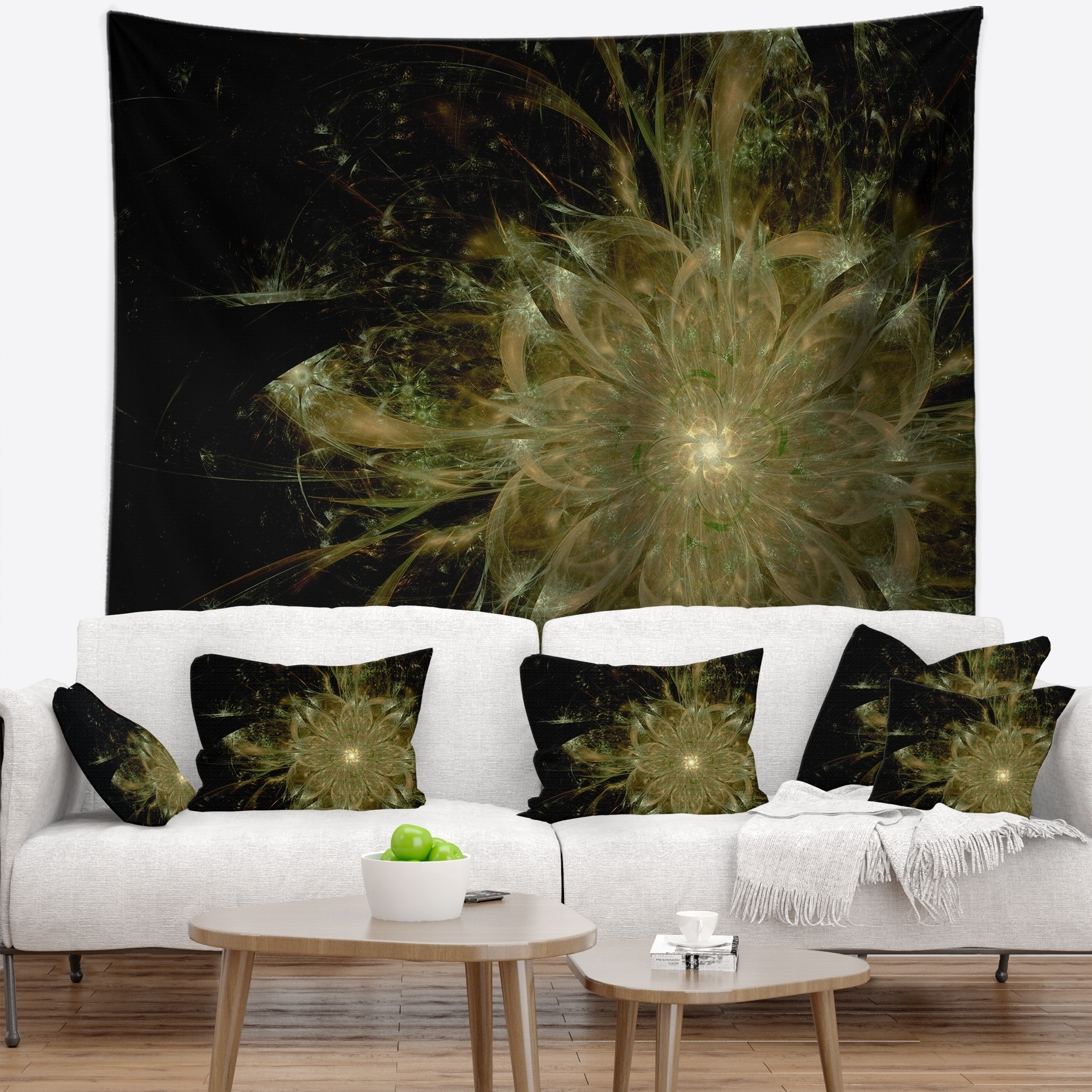 Home Kitchen Tapestries Designart Tap12021 60 50 Light Brown Symmetrical Fractal Flower Floral Blanket Décor Art For Home And Office Wall Tapestry X 50 In 60 In Large