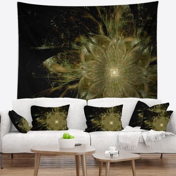 Designart 'Light Brown Symmetrical Fractal Flower' Floral Wall Tapestry