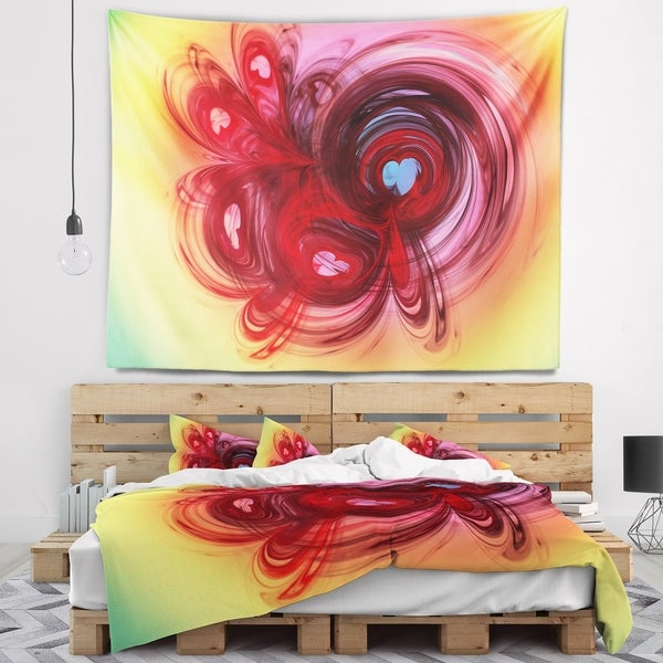 Designart 'Waves Around the Hearts' Abstract Wall Tapestry