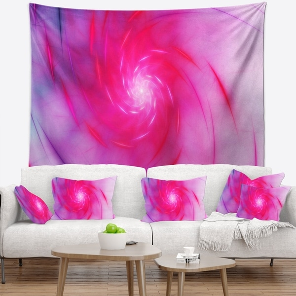 Designart 'Beautiful Fractal Pink Whirlpool' Floral Wall Tapestry