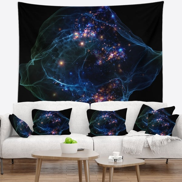 Designart 'Blue Lights of Network' Abstract Wall Tapestry