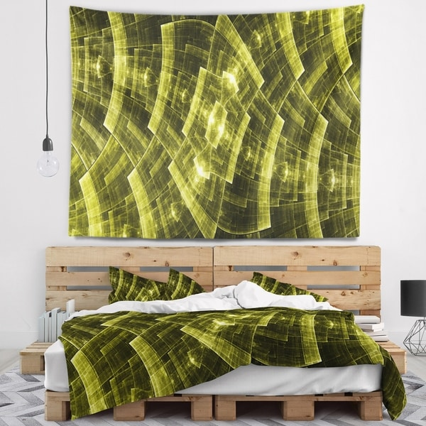 Designart 'Bright Yellow Fractal Flower Grid' Abstract Wall Tapestry