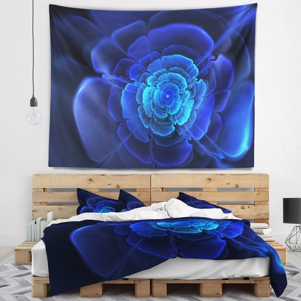Designart 'Bright Blue Fractal Flower in Dark' Floral Wall Tapestry