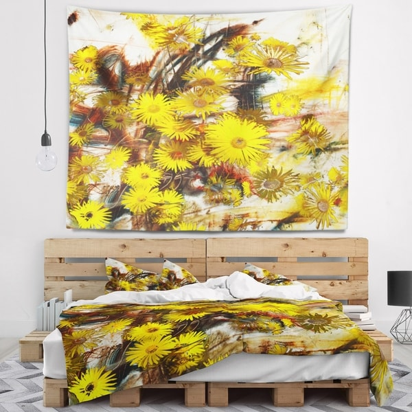 Designart 'Yellow Flowers Watercolor Illustration' Floral Wall Tapestry
