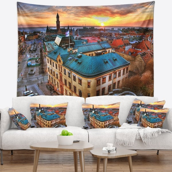 Designart 'Colorful City Landscape' Cityscape Wall Tapestry